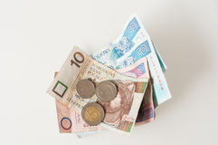 Polish Zloty, bank notes and coins. Zloty,  paper money and coins, currency in Poland North East Europe Stock Photo