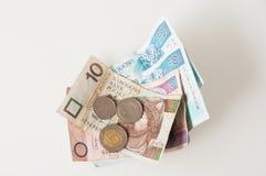 Polish Zloty, bank notes and coins stock photo