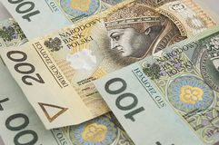 Polish zloty banknotes background Royalty Free Stock Images