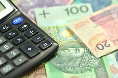 Polish zloty banknotes and calculator Royalty Free Stock Photography