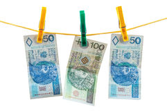 Polish zloty banknotes on clothesline Royalty Free Stock Photography