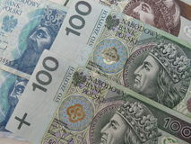 Polish zloty banknotes and coins Royalty Free Stock Images
