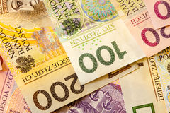 Polish zloty banknotes currency as background Stock Photo