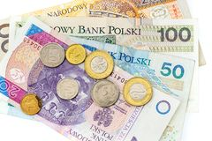 Polish zloty banknotes, money, currency of Poland isolated on wh royalty free stock image