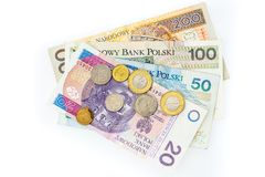 Polish zloty banknotes, money, currency of Poland isolated on wh royalty free stock photography