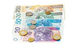 Polish zloty banknotes, money, currency of Poland isolated on wh stock photos