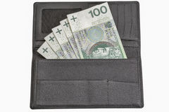 Polish zloty bills in black leather wallet isolated on white Stock Photos