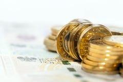 Polish Zloty closeup. Photographed close-up new Polish paper money. Banknotes and coin Stock Photo