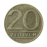 20 polish zloty coin 1987 obverse. Isolated on white background royalty free stock photos