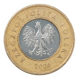 Polish Zloty coin. Two Polish Zloty coin isolated on white background Royalty Free Stock Image