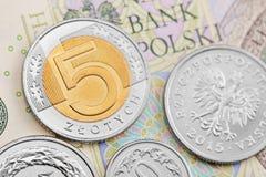 Polish zloty. Polish coins on background of banknotes Royalty Free Stock Photos
