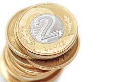 Polish zloty. Polish coins on a white background Stock Photos