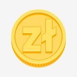 Polish zloty symbol on gold coin. Polish zloty currency symbol on gold coin, money sign vector illustration isolated on white background Stock Photos