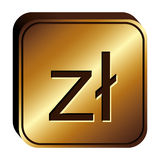 Polish zloty currency symbol icon Stock Images