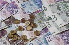 Polish zloty of different denominations 3 stock photos