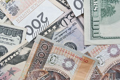 Polish zloty and dollar, cash. As a background Royalty Free Stock Image