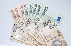 Polish zloty, euro and dollar. Background Stock Photography