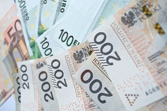 Polish zloty, euro and dollar Royalty Free Stock Images