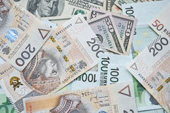 Polish zloty, euro and dollar Stock Photography