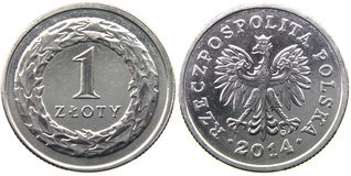 Polish zloty 2014. Isolated old Polish coin on a white background royalty free stock images
