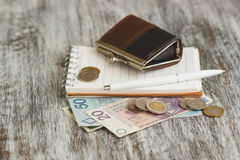 Polish zloty with little wallets and notebook on the wooden background Stock Photo