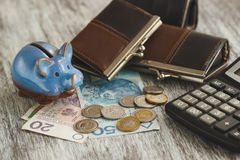 Polish zloty with little wallets, piggy bank and calculator on the wooden background Stock Images