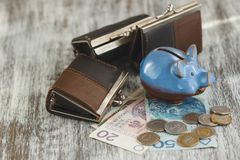 Polish zloty with little wallets and piggy bank on the wooden background. Soft focus background Royalty Free Stock Photo