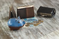 Polish zloty with little wallets and piggy bank on the wooden background Stock Photography