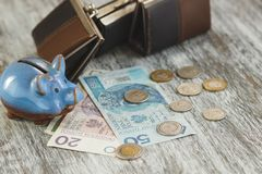 Polish zloty with little wallets and piggy bank on the wooden background. Soft focus background Royalty Free Stock Images