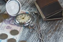 Polish zloty with little wallets and pocket clock royalty free stock photo