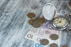 Polish zloty with little wallets and pocket clock Stock Image