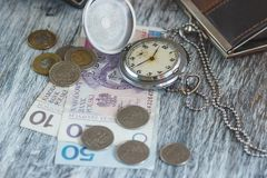 Polish zloty with little wallets and pocket clock Royalty Free Stock Photos