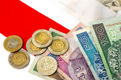 Polish zloty. Many banknotes and coins of different denomination Stock Image