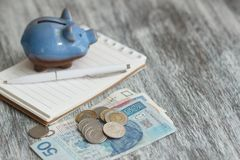 Polish zloty, notebook and piggy bank on the wooden background Royalty Free Stock Images