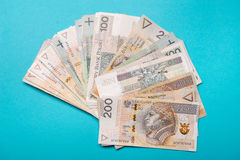 Polish zloty in notes and coins Stock Photography