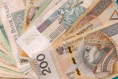Polish zloty in notes and coins Royalty Free Stock Photography