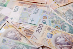Polish zloty in notes and coins Stock Photos