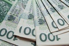 Polish zloty, paper money. Background from 100 polish zloty Stock Photo