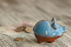 Polish zloty and piggy bank on the wooden background Stock Photography