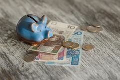 Polish zloty and piggy bank on the wooden background Royalty Free Stock Images