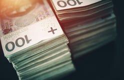 Polish Zloty Pile of Cash Stock Photos