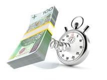 Polish zloty with stopwatch. Isolated on white background vector illustration