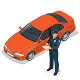 Polishandstil som rusar biljetten för en chaufför Skyddsföreskrifter för vägtrafik Polis som ger en biljett för bad Arkivbilder
