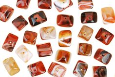 Polished agate stone beads for jewelry Royalty Free Stock Image