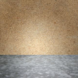 Polished bare concrete floor and plywood wall texture Royalty Free Stock Image