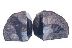 Polished black agate geode bookend Stock Photos
