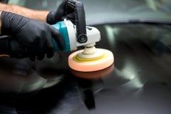 Polished black car Stock Image