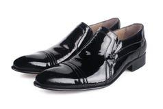 Polished black mens shoes Stock Images