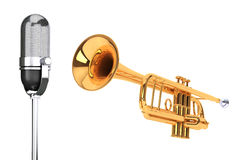 Polished Brass Trumpet with Vintage silver microphon Royalty Free Stock Images