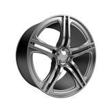 Polished chrome rim wheel on white Royalty Free Stock Photo